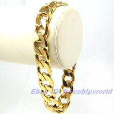 "9""12mm39g REAL MEN 18K YELLOW GOLD GP BRACELET SOLID FILL GEP CUBR RING CHAIN"