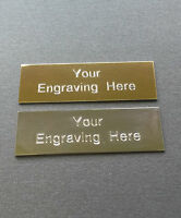 Self adhesive Engraved plaque / plate 50x16mm Gold or Silver Great for frames