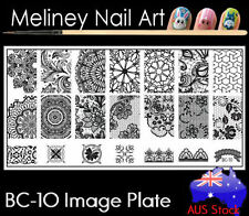 BC-10 Stamping Nail Art Image Plate Design Rectangle XL Stencil met