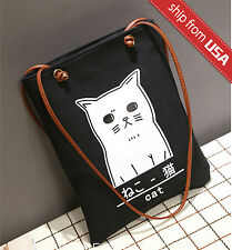 Japan Kitty White Cat Face Purse Canvas Shoulder Bag Tote Shopper Handbag Cute