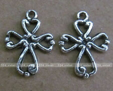 P084 20pcs Tibetan Silver Beads Charm 2-Sided Cross retro Accessories Wholesale