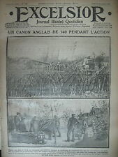 WW1 N° 1486 CANON DE 140 ANGLAIS GEORGE V ET ALBERT 1er JOURNAL EXCELSIOR 1914