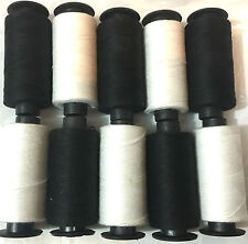 10 x Cotton Spools Set 5 BLACK + 5 WHITE Sewing Thread Spools BEST PRICE UK