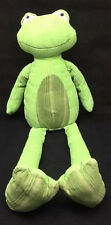 "Pottery Barn Kids Frog Corduroy Green Brown Striped Belly Plush 19"" Toy Lovey"