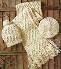 Ladies Knitting Pattern Aran Hat Beret Scarf Boys Girls 262