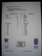 1957 Fairs Cup Semi Final (1st Leg) Birmingham City v Barcelona Matchsheet