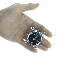 Portable Metal Mini Bell Alarm Clock Retro Style Pointers Digits with Keychain