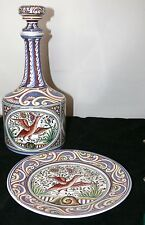 SIGNED A,DIAS NUMBERED MAIOLICA POTTERY PORTUGUESE WINE CARAFE W/ BASE PLATE