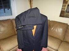 BURBERRYS mens 40 42 navy blue striped wool suit 34 x 27 pleated cuffed pants