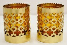 PAIR BRASS VOTIVE CANDLE HOLDER WITH GLASS -231- MORE AVAILABLE. (CHURCH CO.)