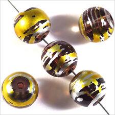 Lot de 20 perles en verre Décorées 10mm Marron