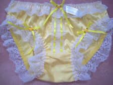 PRETTY YELLOW SATIN/LACE/RIBBON BOWS SISSY PANTY  1X SIZE