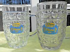 2 Efes Pilsen Beer Glass  Advertising Glass  beer mug pair bira steins