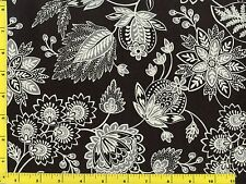 White Victorian Flowers & Vines on Black Quilting Fabric by Yard  #333