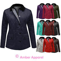 NEW WOMENS LADIES QUILTED PADDED BUTTON ZIP JACKET COAT TOP PLUS SIZES 8-16