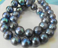 "PRETTY RARE NATURAL 12-13MM SOUTH SEA BLACK BLUE PEARL NECKLACE 18"" 14KT"