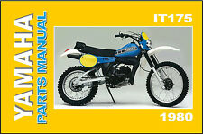 YAMAHA Parts Manual IT175 1980 G IT175G VMX Replacement Spares Catalog List