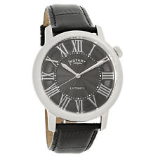 Rotary Automatic Mens Black Dial Leather Strap Quartz Watch GLE000010-10