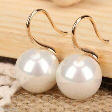 Huge 14mm White Round South Sea Shell Pearl 14K Gold Plated Dangle Earrings AAA
