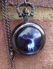 black  necklace pendant locket quartz watch deer moon Wicca Pegan HArry Potter