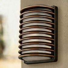 Bronze Grid Outdoor Wall Light Landscape Lighting Fixtures Patio Lamp Exterior
