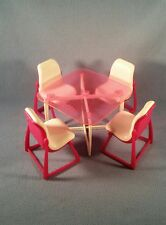 Vintage Barbie Dream Furniture Dining Table And Chairs 1977 Kitchen 4 Chairs
