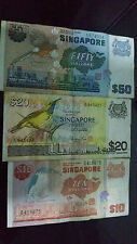 Singapore Bird $50 $20 and $10 note