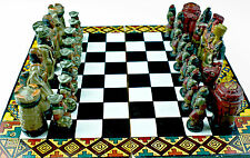 HAND CRAFTED & PAINTED ETHNIC PERUVIAN CHESS SET - INCAS VS CONQUISTADORS