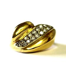 14k yellow gold white sapphire 1.7mm mens ring vintage estate 9.4g antique gents
