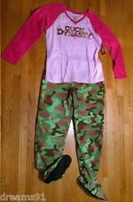 A&E Womens Duck Dynasty 2 Pc Footed Pajama  PJ Pink Camo Camouflage Top Pant M