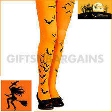 Orange Bat Halloween Witch Printed Tights Rubies Child Costume Girls 18-24Kgs