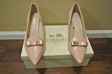 COACH ZORRA PINK LEATHER W/BOW DETAIL GOLD TONE POINTY TOES PUMPS SIZE 6