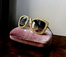 NWT MIU MIU SMU 070 Noir Honey Glitter Square Lens & Gold Arms Sunglasses $370
