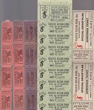 PACIFIC OCEAN PARK GROUP OF UNUSED 1959 AND 1960'S TICKETS-VERSION #2