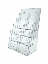 "Clear Acrylic 4-Tier Brochure Holder for 8.5""w Literature"