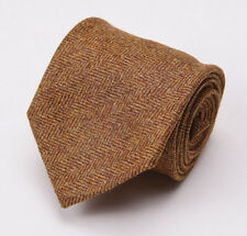 NWT $225 LUCIANO BARBERA Golden Ochre Brown Herringbone Soft Wool Tie Handmade