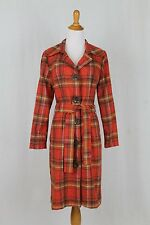 Eva Franco for Anthropologie Retro Orange & Green Plaid Dress Coat Mod 6 S