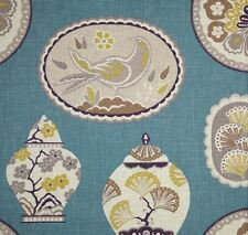 Braemore IMPERIAL TREASURE TEAL Chinoiserie Plates Home Decor Drapery Fabric