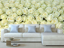 A Lot White Flowers Roses Wall Mural Photo Wallpaper GIANT WALL DECOR