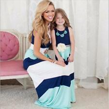 Mother Daughter Striped Maxi Long Dress Casual Family Evening Party Summer Dress