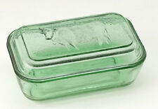 GREEN GLASS BUTTER DISH 1 ONE POUND COW COUNTRY  ICE GREEN DEPRESSION STYLE