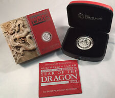 Australian Lunar Year of the Dragon 2012 High Relief Silver coin Perth Mint