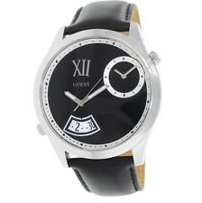 NEW-GUESS SILVER TONE,DUAL TIME,ROMAN #'S,BLACK LEATHER BAND WATCH-W0260G1