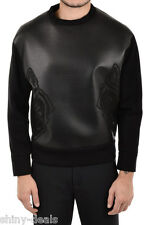 DROMe New Man Black Neoprene Leather Crewneck Sweatshirt Jumper Size M $777 SALE