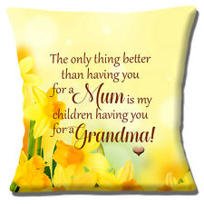 "Mum Grandma Daffodil Message Mother's Day Unique Gift 16"" Pillow Cushion Cover"