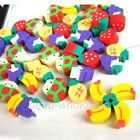 NEW 50PCS Novelty Mini Fruit Rubber Pencil Eraser For Kid Stationery Cute Gift