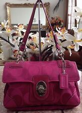 Coach Fuchsia Peyton Signature Flap Bag Purse 14504 EUC