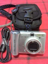 CANON PowerShot A75 3.2 MP Digital Camera - Silver USB Cable Case Tested Working