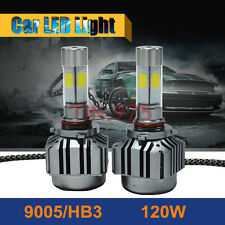 9005 HB3 6000K 120W 12000LM 4-Sides LED High Beam Headlight Kit White Bulbs Pair