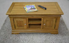 French Farmhouse Oak Large Storage Coffee Table with Shelves & Cupboards